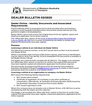 Department of Transport Dealer Bulletin -  June 2020