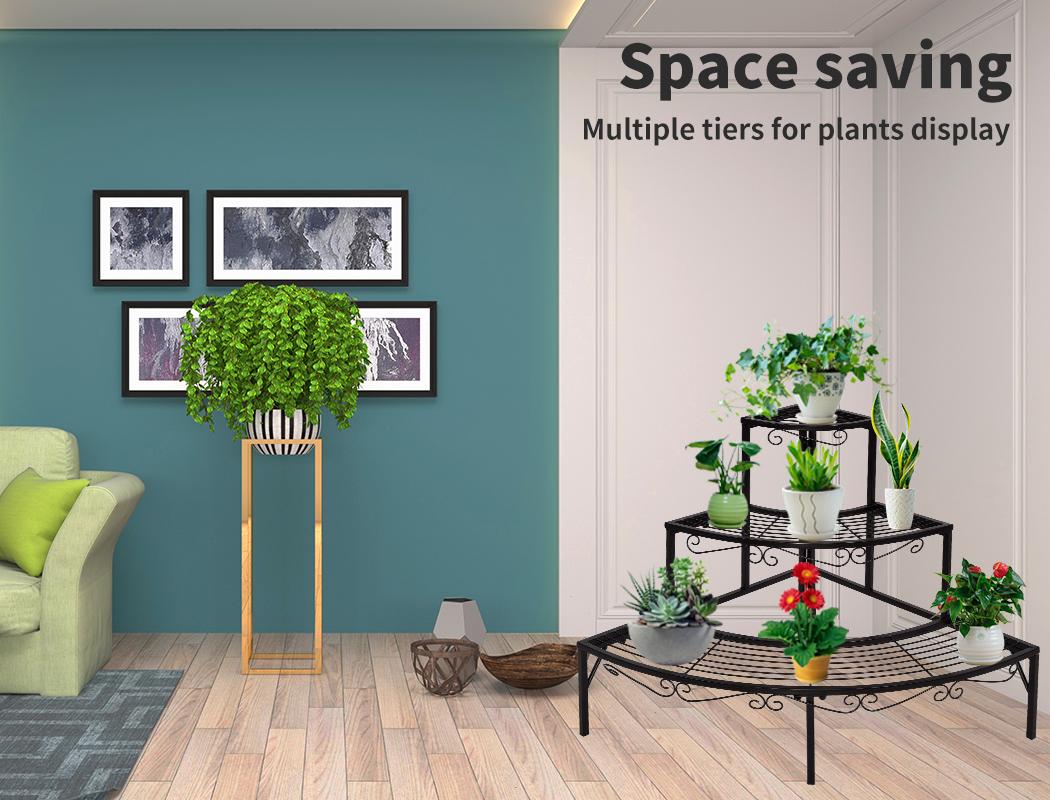 Levede-Plant-Stands-Outdoor-Indoor-Metal-Black-Flower-Pot-3-Garden-Corner-Shelf thumbnail 43