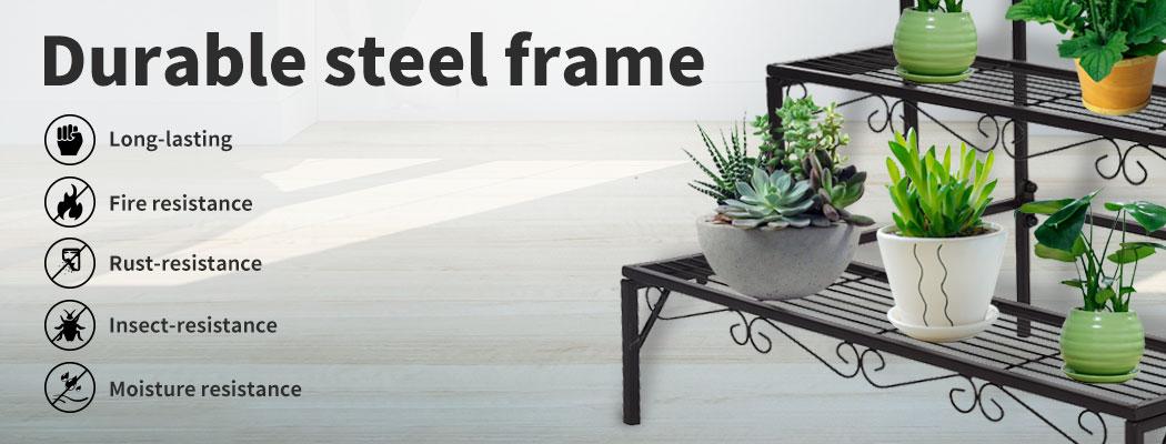 Levede-Plant-Stands-Outdoor-Indoor-Metal-Black-Flower-Pot-3-Garden-Corner-Shelf thumbnail 17