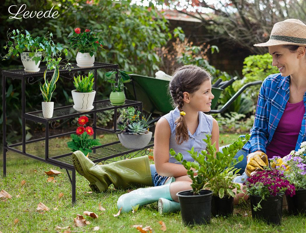 Levede-Plant-Stands-Outdoor-Indoor-Metal-Black-Flower-Pot-3-Garden-Corner-Shelf thumbnail 23
