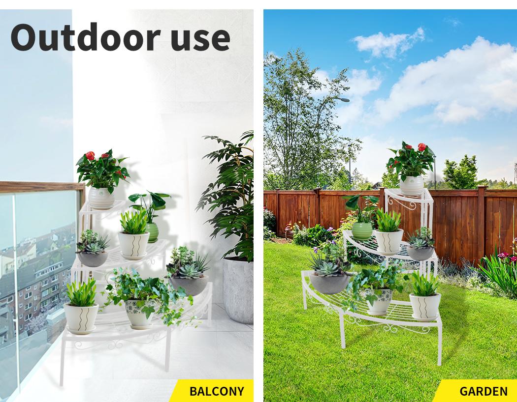 Levede-Plant-Stands-Outdoor-Indoor-Metal-Black-Flower-Pot-3-Garden-Corner-Shelf thumbnail 50