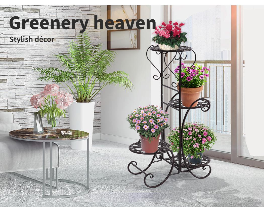 Plant-Stand-Outdoor-Indoor-Metal-Pot-Shelf-Garden-Decor-Flower-Rack-Wrought-Iron thumbnail 14