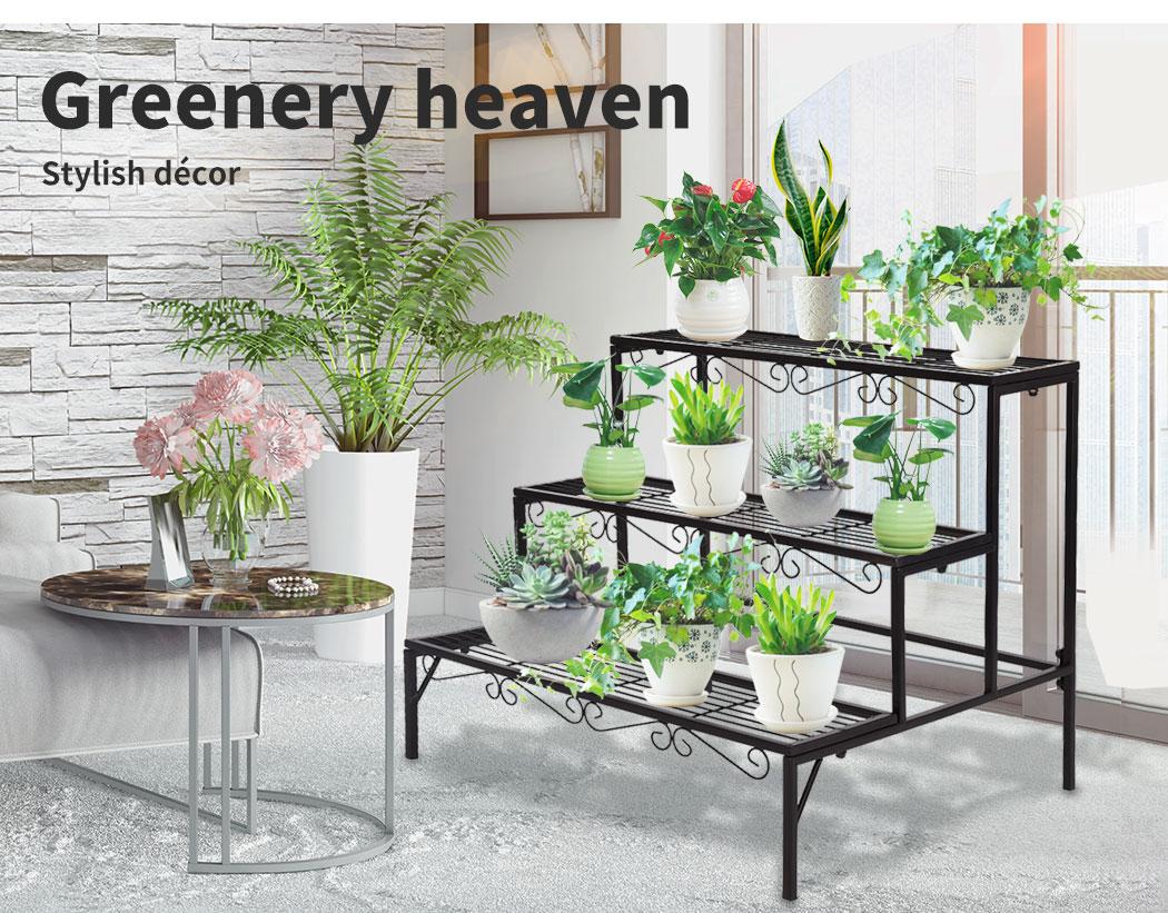 Levede-Plant-Stands-Outdoor-Indoor-Metal-Black-Flower-Pot-3-Garden-Corner-Shelf thumbnail 61