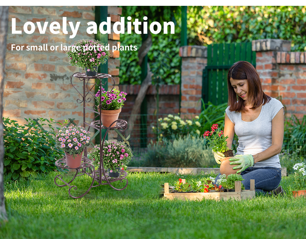Plant-Stand-Outdoor-Indoor-Metal-Pot-Shelf-Garden-Decor-Flower-Rack-Wrought-Iron thumbnail 33
