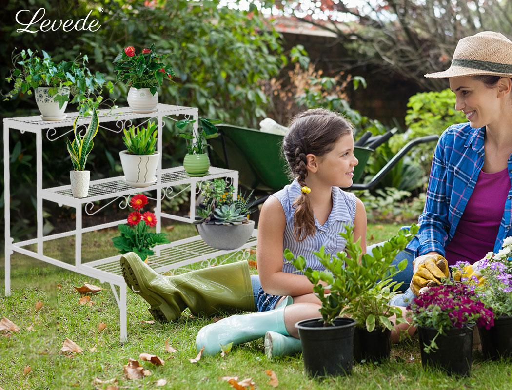 Levede-Plant-Stands-Outdoor-Indoor-Metal-Black-Flower-Pot-3-Garden-Corner-Shelf thumbnail 81