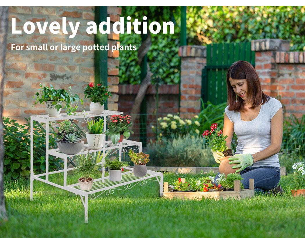 Levede-Plant-Stands-Outdoor-Indoor-Metal-Black-Flower-Pot-3-Garden-Corner-Shelf thumbnail 79