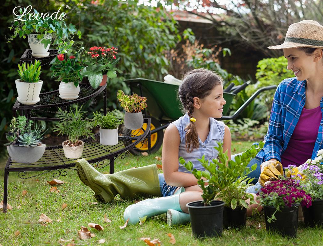 Levede-Plant-Stands-Outdoor-Indoor-Metal-Black-Flower-Pot-3-Garden-Corner-Shelf thumbnail 46
