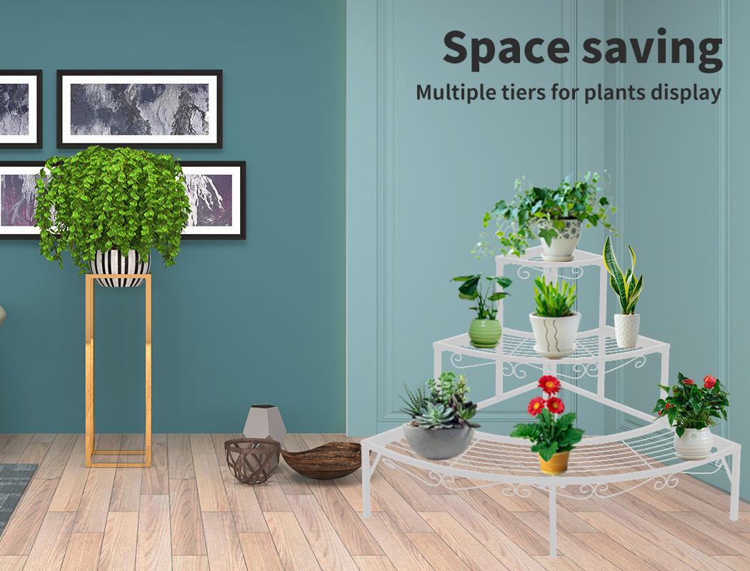 Levede-Plant-Stands-Outdoor-Indoor-Metal-Black-Flower-Pot-3-Garden-Corner-Shelf thumbnail 55