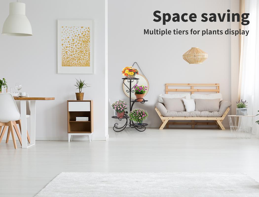 Plant-Stand-Outdoor-Indoor-Metal-Pot-Shelf-Garden-Decor-Flower-Rack-Wrought-Iron thumbnail 20