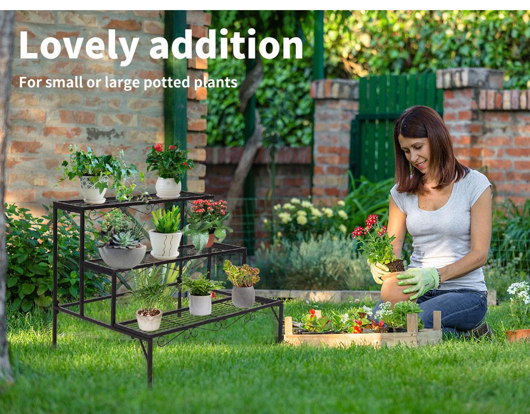 Levede-Plant-Stands-Outdoor-Indoor-Metal-Black-Flower-Pot-3-Garden-Corner-Shelf thumbnail 21