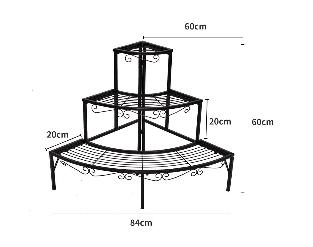 Levede-Plant-Stands-Outdoor-Indoor-Metal-Black-Flower-Pot-3-Garden-Corner-Shelf thumbnail 45