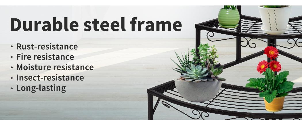 Levede-Plant-Stands-Outdoor-Indoor-Metal-Black-Flower-Pot-3-Garden-Corner-Shelf thumbnail 40