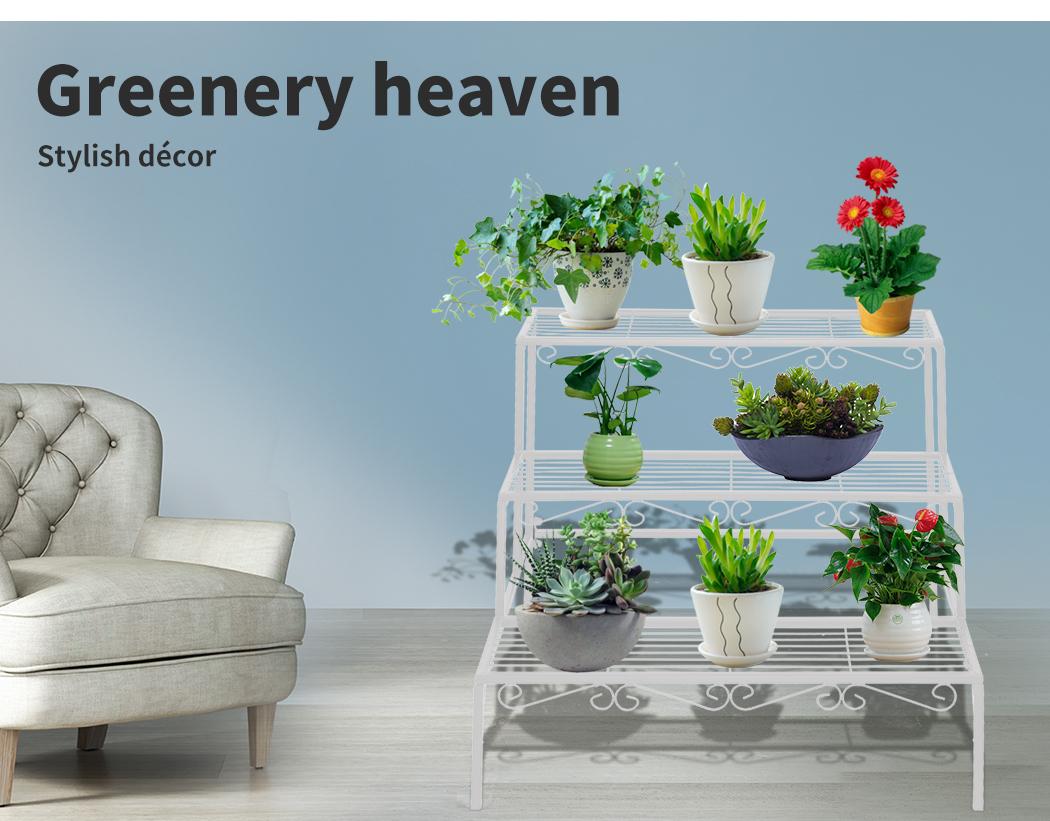 Levede-Plant-Stands-Outdoor-Indoor-Metal-Black-Flower-Pot-3-Garden-Corner-Shelf thumbnail 72