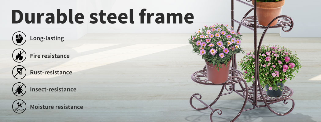 Plant-Stand-Outdoor-Indoor-Metal-Pot-Shelf-Garden-Decor-Flower-Rack-Wrought-Iron thumbnail 29