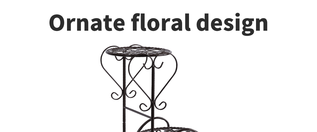 Plant-Stand-Outdoor-Indoor-Metal-Pot-Shelf-Garden-Decor-Flower-Rack-Wrought-Iron thumbnail 19