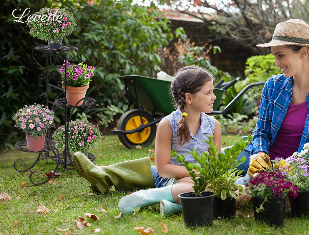 Plant-Stand-Outdoor-Indoor-Metal-Pot-Shelf-Garden-Decor-Flower-Rack-Wrought-Iron thumbnail 23