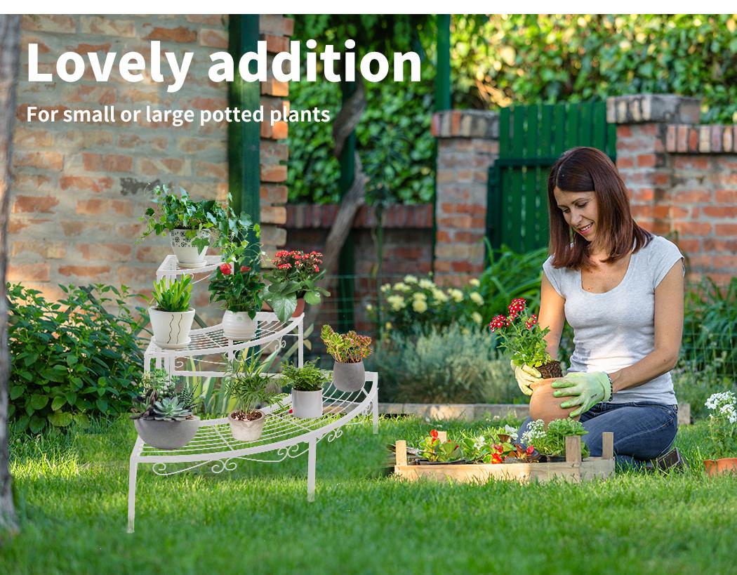 Levede-Plant-Stands-Outdoor-Indoor-Metal-Black-Flower-Pot-3-Garden-Corner-Shelf thumbnail 56