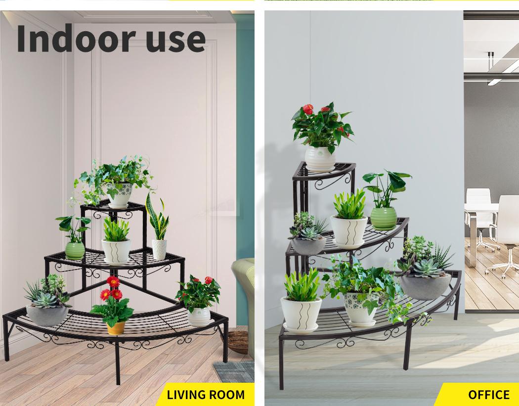 Levede-Plant-Stands-Outdoor-Indoor-Metal-Black-Flower-Pot-3-Garden-Corner-Shelf thumbnail 39