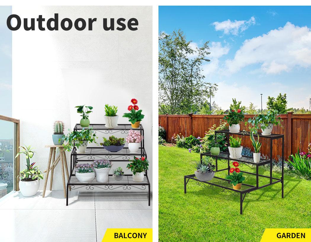 Levede-Plant-Stands-Outdoor-Indoor-Metal-Black-Flower-Pot-3-Garden-Corner-Shelf thumbnail 15