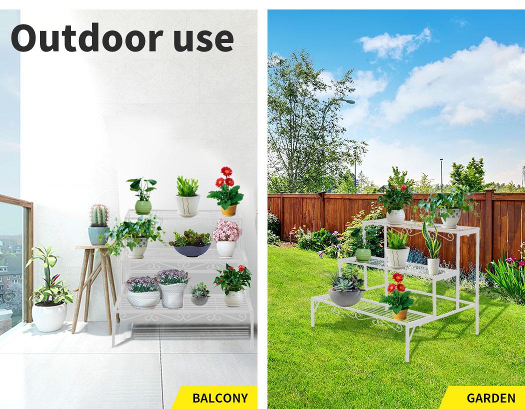 Levede-Plant-Stands-Outdoor-Indoor-Metal-Black-Flower-Pot-3-Garden-Corner-Shelf thumbnail 73