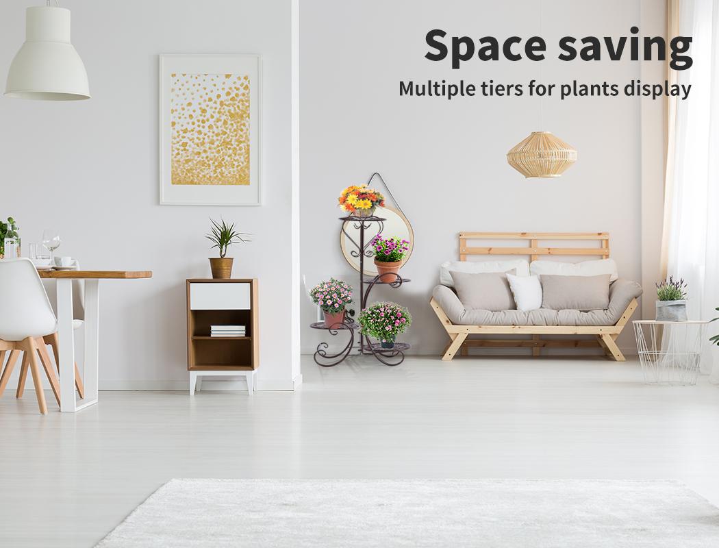 Plant-Stand-Outdoor-Indoor-Metal-Pot-Shelf-Garden-Decor-Flower-Rack-Wrought-Iron thumbnail 32