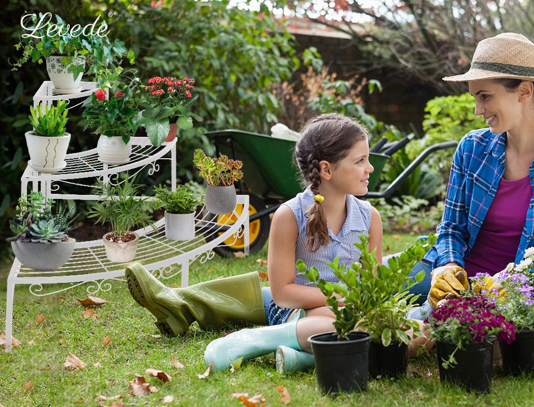 Levede-Plant-Stands-Outdoor-Indoor-Metal-Black-Flower-Pot-3-Garden-Corner-Shelf thumbnail 58