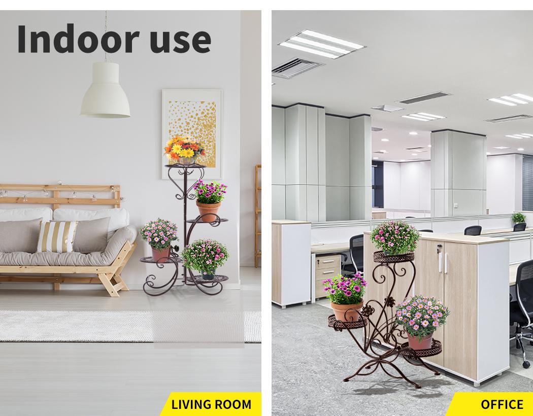 Plant-Stand-Outdoor-Indoor-Metal-Pot-Shelf-Garden-Decor-Flower-Rack-Wrought-Iron thumbnail 28