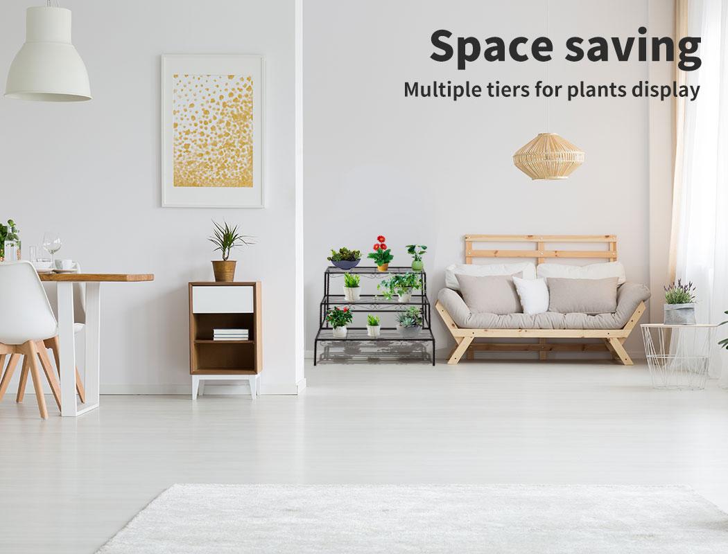 Levede-Plant-Stands-Outdoor-Indoor-Metal-Black-Flower-Pot-3-Garden-Corner-Shelf thumbnail 20