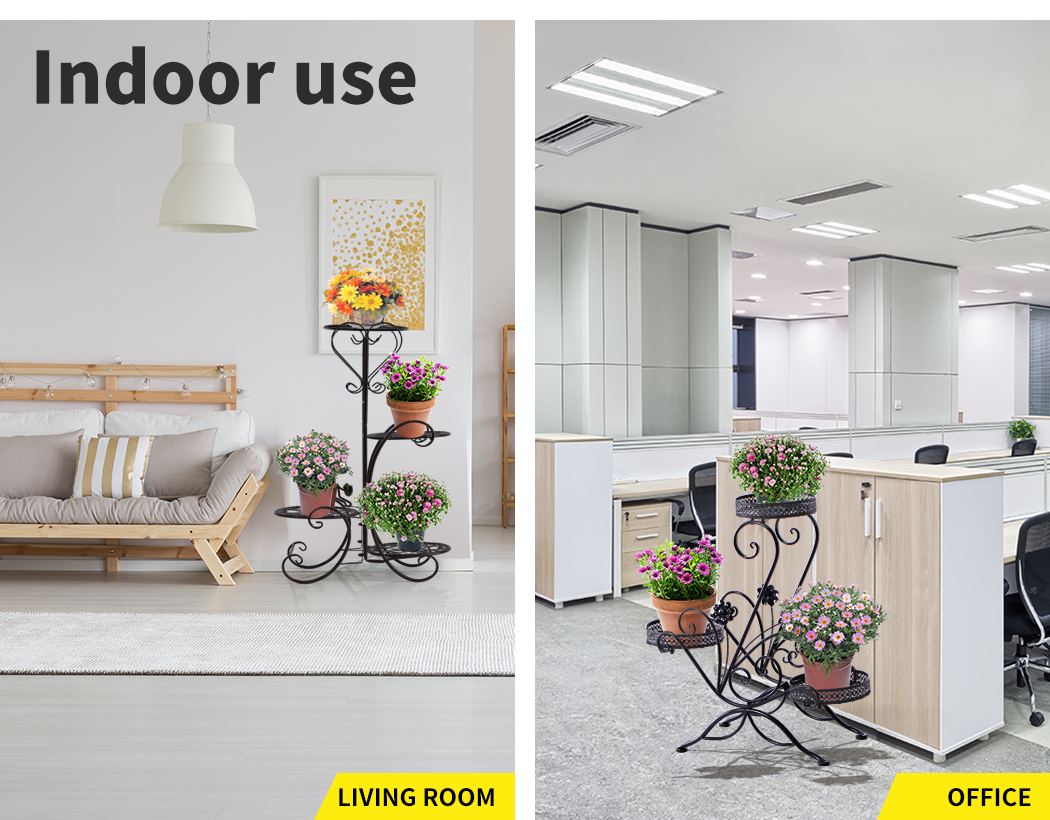 Plant-Stand-Outdoor-Indoor-Metal-Pot-Shelf-Garden-Decor-Flower-Rack-Wrought-Iron thumbnail 16