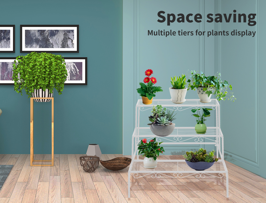 Levede-Plant-Stands-Outdoor-Indoor-Metal-Black-Flower-Pot-3-Garden-Corner-Shelf thumbnail 32