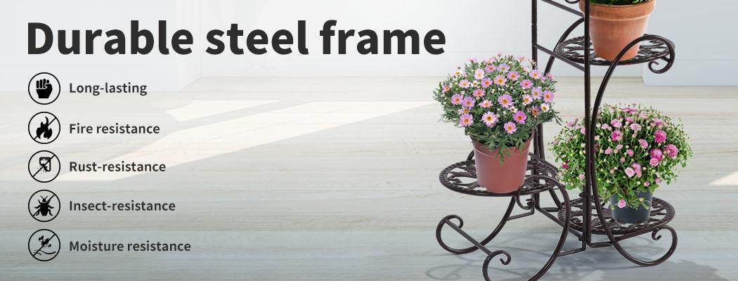 Plant-Stand-Outdoor-Indoor-Metal-Pot-Shelf-Garden-Decor-Flower-Rack-Wrought-Iron thumbnail 17