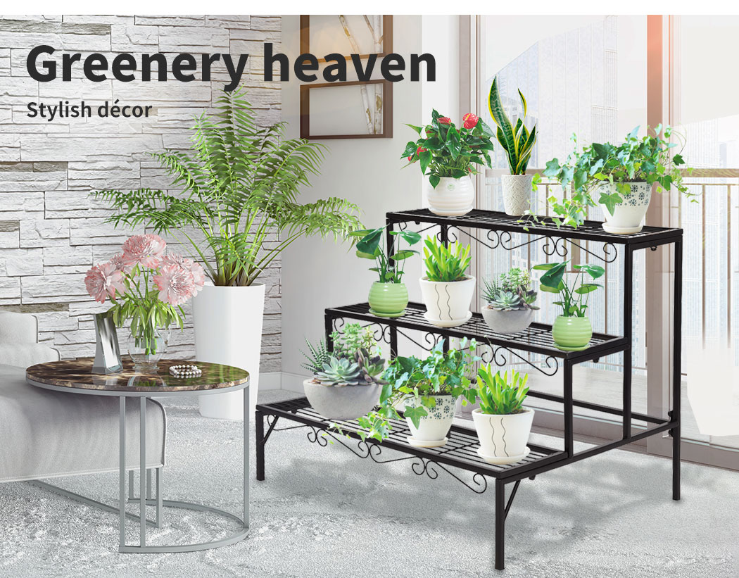 Levede-Plant-Stands-Outdoor-Indoor-Metal-Black-Flower-Pot-3-Garden-Corner-Shelf thumbnail 14