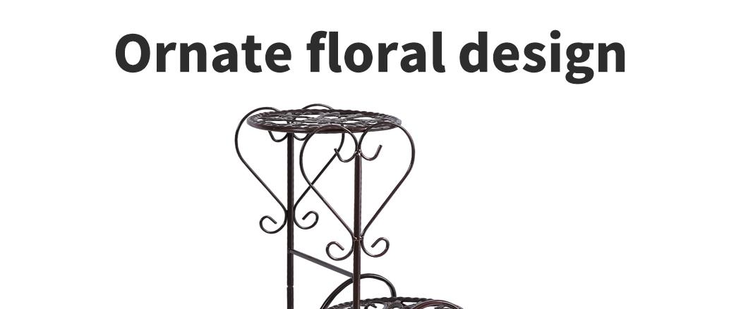 Plant-Stand-Outdoor-Indoor-Metal-Pot-Shelf-Garden-Decor-Flower-Rack-Wrought-Iron thumbnail 31