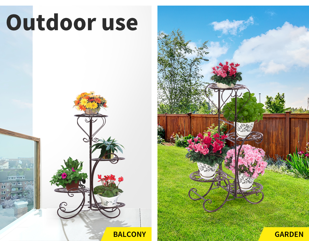 Plant-Stand-Outdoor-Indoor-Metal-Pot-Shelf-Garden-Decor-Flower-Rack-Wrought-Iron thumbnail 27