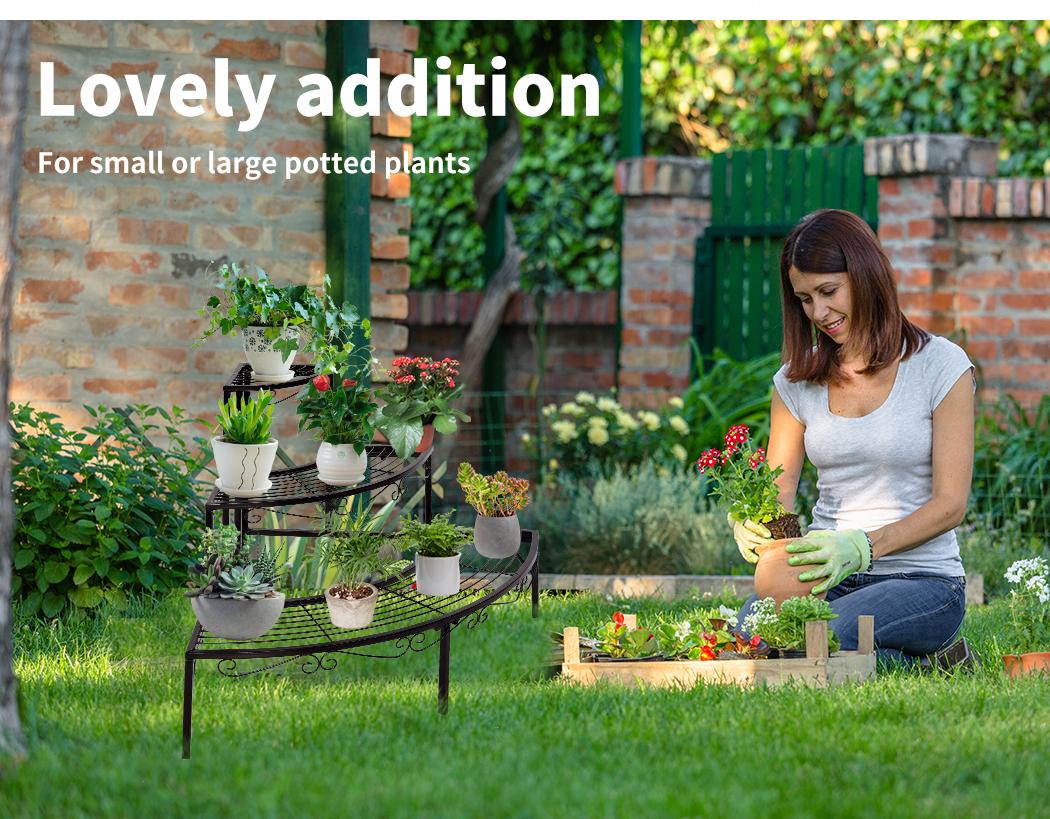 Levede-Plant-Stands-Outdoor-Indoor-Metal-Black-Flower-Pot-3-Garden-Corner-Shelf thumbnail 44