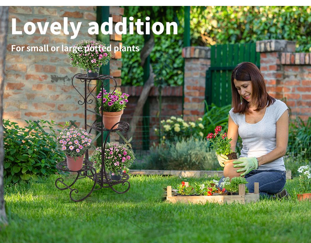 Plant-Stand-Outdoor-Indoor-Metal-Pot-Shelf-Garden-Decor-Flower-Rack-Wrought-Iron thumbnail 21
