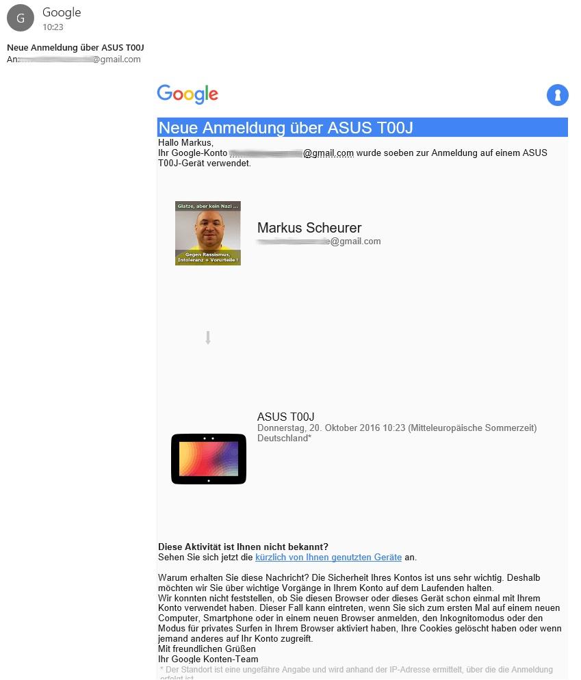 Bei verschiedenen Anbietern, z. B. bei Google, erhält man eine Mail zur Bestätigung der Anmeldung.