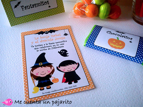 Halloween, invitaciones, etiquetas, place cards, chocolatina, bruja, vampiro, murciélago, fantasma, araña, calabaza