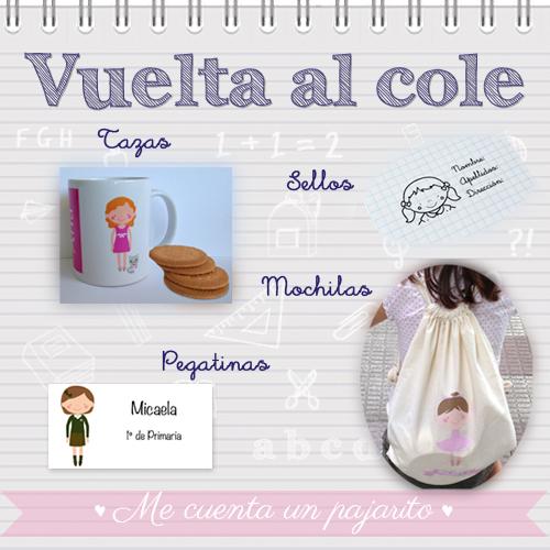 Vuelta al cole 2014, tazas personalizadas, sellos, pegatinas y mochilas