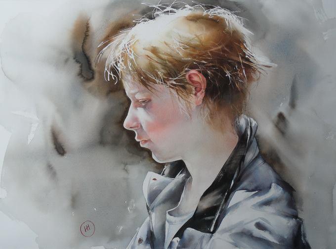 Retrato de chico, Ilya Ibryaev acuarela