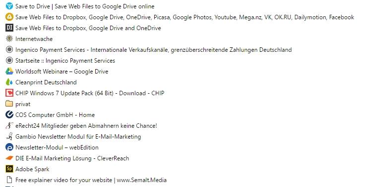 Auswahl Lesezeichen im Browser Google Chrome
