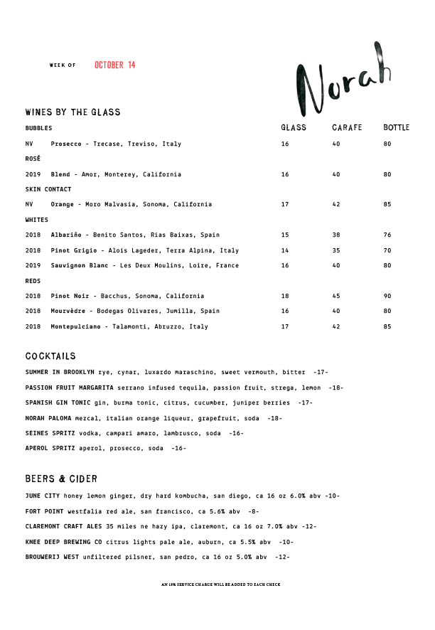 Norah Wine by the Glass & Cocktails Menu