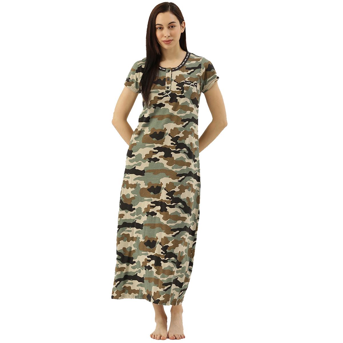 Slumber Jill Kaki Camouflage Night Dress