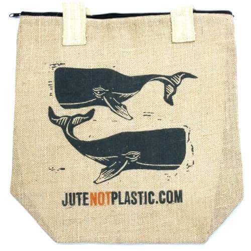 eco jute bag - two whales (Black)