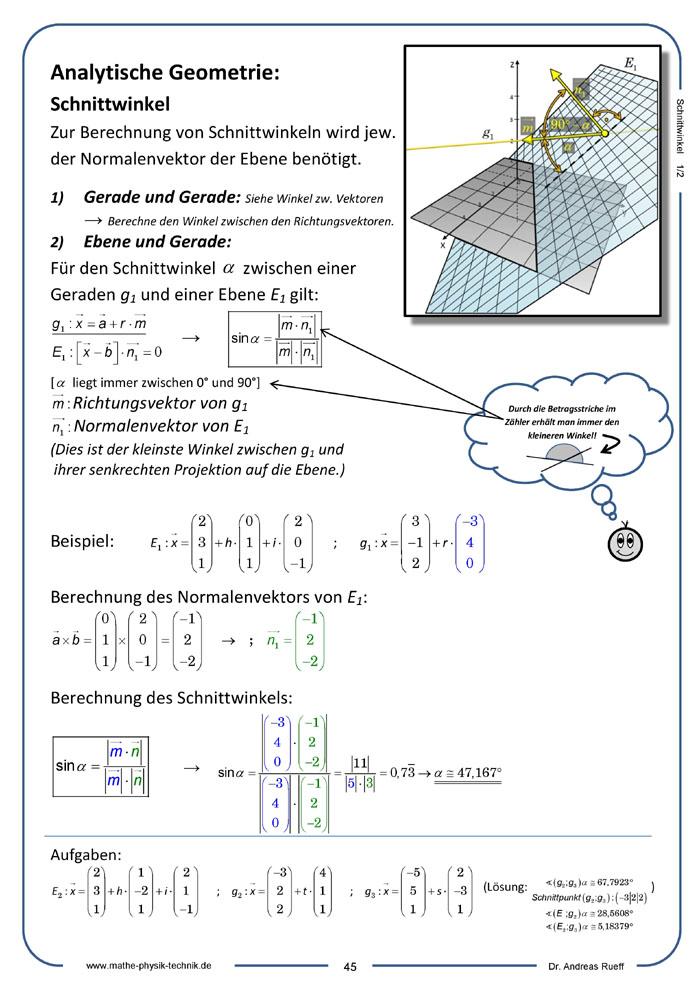 analytische geometrie mathematik physik technik mint lernvideos und unterrichtsmaterialien. Black Bedroom Furniture Sets. Home Design Ideas