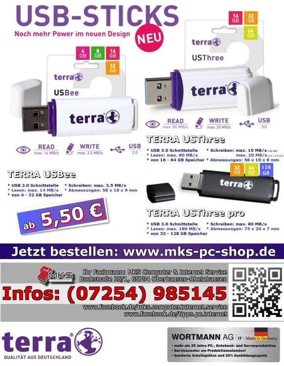Klein, handlich, weiß – die USB-Sticks von TERRA zum günstigen Preis