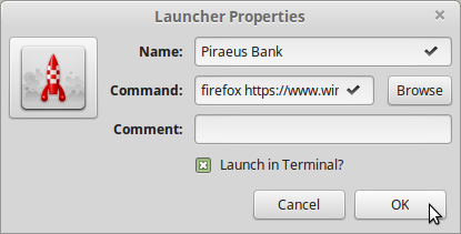 18). Enter Piraeus Bank details in Launcher Properties