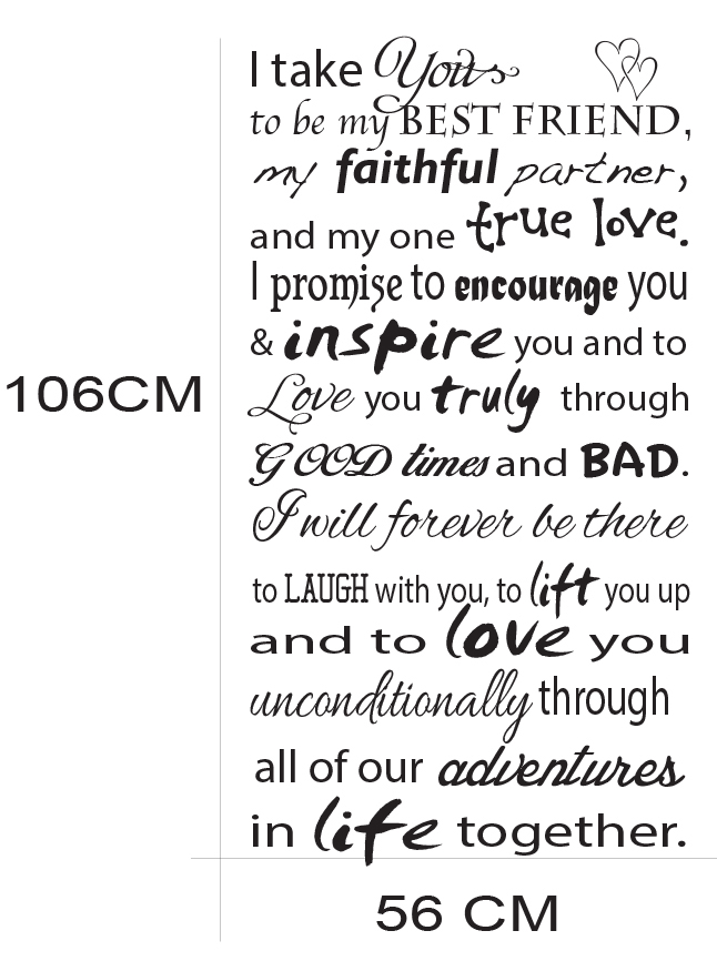 wedding vow quote wall sticker kids nursery wall sticker vinyl decal HM wall decal Melbourne Australia customise personalised