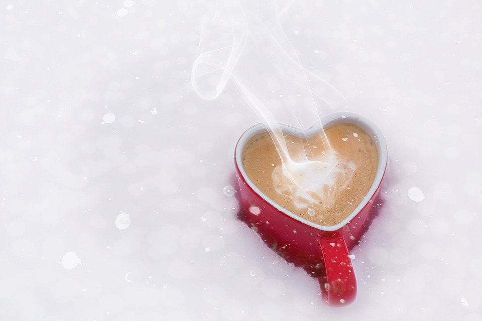 Heart mug coffee