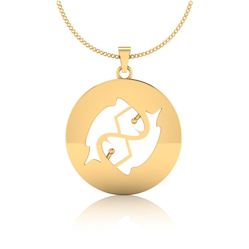 The Pisces Zodiac Gold Pendant